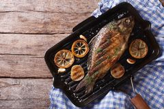 Grilled carp with lemon in a grill pan , horizontal top view Royalty Free Stock Image