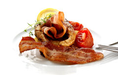 Grilled carp steak on organic potato Royalty Free Stock Photography