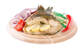 Grilled carp steak. Royalty Free Stock Photography