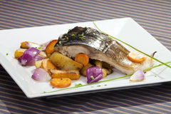 Grilled carp with vegetable Stock Image