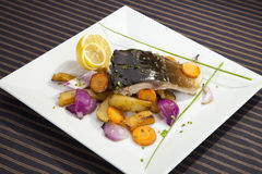 Grilled carp with vegetable Royalty Free Stock Photo