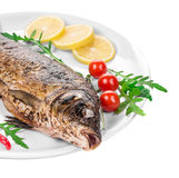 Grilled carp with vegetables on plate. Royalty Free Stock Photos