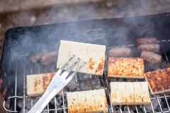 Grilled cevapcici and cheese balkan cuisine Stock Photography