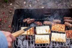 Grilled cevapcici and cheese balkan cuisine Royalty Free Stock Photo