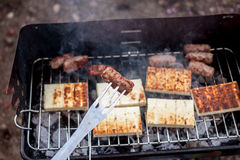 Grilled cevapcici and cheese balkan cuisine Stock Image