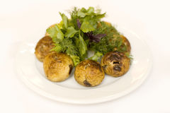 Grilled champignons Stock Photo