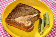 Grilled Cheese And Pickles Royalty Free Stock Images