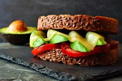 Grilled cheese, avocado, tomato sandwich on whole grain bread Royalty Free Stock Photo