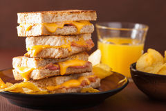 Grilled cheese and bacon sandwich Royalty Free Stock Images