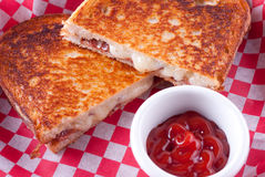 Grilled cheese and bacon sandwiches Royalty Free Stock Images