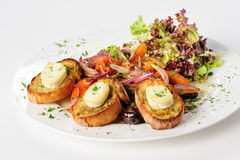 Grilled cheese on bread with salad Royalty Free Stock Image