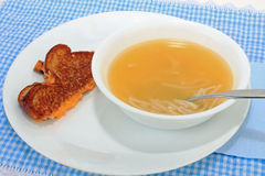Grilled Cheese and Chicken Soup Stock Photography