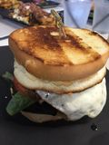 Grilled cheese egg burger. Stacked food delicious Stock Photos
