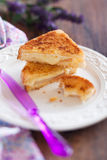 Grilled cheese sandwich. With brie and pear, selective focus Royalty Free Stock Photos