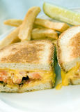 Grilled cheese sandwich bacon tomato with french fries potatoes Stock Photography