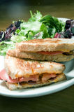 Grilled cheese sandwich bacon tomato vinaigrette salad and cole Royalty Free Stock Image