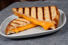 Grilled cheese sandwich on a blue plate