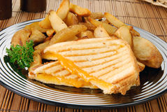 Grilled cheese sandwich and fries Royalty Free Stock Image
