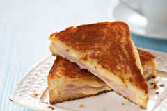 Grilled cheese sandwich with ham Stock Photos