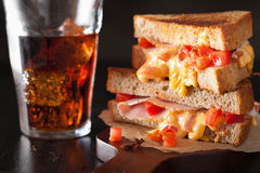 Grilled cheese sandwich with ham and tomato Stock Image