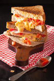 Grilled cheese sandwich with ham and tomato Royalty Free Stock Photography