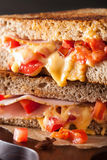 Grilled cheese sandwich with ham and tomato Royalty Free Stock Photos