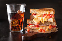 Grilled cheese sandwich with ham and tomato Stock Photo