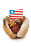 Grilled cheese sandwich hotdog. On white stock photos