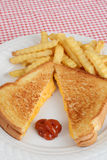 Grilled cheese sandwich with ketchup Royalty Free Stock Photos