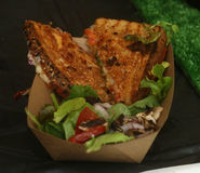 Grilled cheese sandwich with mozzarella, tomato and salad Stock Images