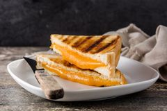 Free Grilled Cheese Sandwich On Wood Stock Image - 139392361