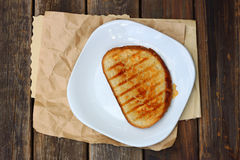 Grilled Cheese Sandwich Served On A Plate Royalty Free Stock Photography