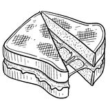 Grilled cheese sandwich sketch. Doodle style gooey grilled cheese sandwich illustration in vector format Stock Photography