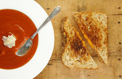 Grilled Cheese Sandwich and Tomato Soup Royalty Free Stock Photo