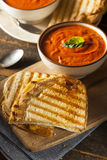 Grilled Cheese Sandwich with Tomato Soup. Grilled Cheese Sandwich with Creamy Tomato Basil Soup Royalty Free Stock Photography