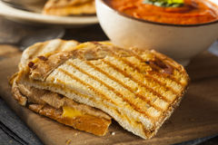 Grilled Cheese Sandwich with Tomato Soup Stock Images