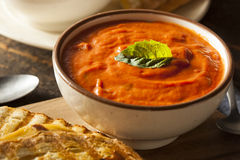 Grilled Cheese Sandwich with Tomato Soup. Grilled Cheese Sandwich with Creamy Tomato Basil Soup Stock Images
