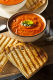 Grilled Cheese Sandwich with Tomato Soup. Grilled Cheese Sandwich with Creamy Tomato Basil Soup Royalty Free Stock Image