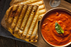 Grilled Cheese Sandwich with Tomato Soup Royalty Free Stock Photos