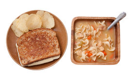 Grilled cheese and soup Royalty Free Stock Images