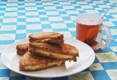 Grilled cheese and tea Stock Image