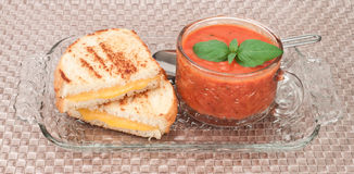 Grilled cheese and tomato soup Royalty Free Stock Image