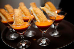 Grilled cheese and tomato soup appetizer tray Stock Image