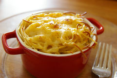 Grilled cheese topping. Of spaghetti and fork Royalty Free Stock Photos