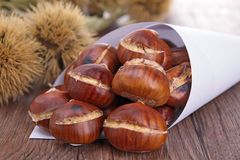 Grilled chestnut Stock Photo