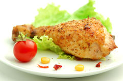 Grilled Chicken. On a white plate Stock Photography