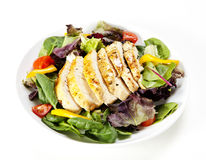 Grilled chicken. Fresh salad with sliced grilled chicken breast Stock Photo
