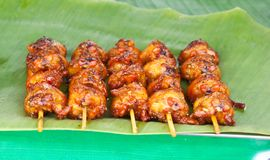 Grilled chicken. Grilled chicken on banana leaf Royalty Free Stock Photography