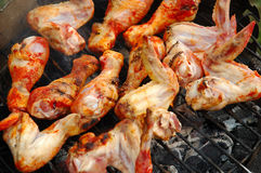 Grilled chicken. Grilling chicken on the fire grate, close-up Royalty Free Stock Photo
