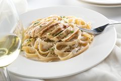 Grilled Chicken Alfredo. Delicious grilled chicken alfredo with fettuccine, grated parmigiano reggiano, and chopped parsley garnish royalty free stock images
